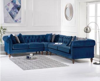 Livi Medium Blue Velvet Corner Sofa