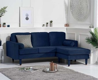 Lucas Blue Velvet 3 Seater Reversible Chaise Sofa