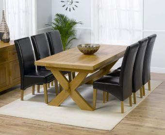 Bordeaux 200cm Solid Oak Extending Dining Table with Cannes Chairs