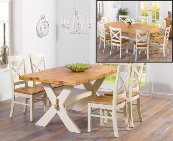 Bordeaux 165cm Oak and Cream All Sides Extending Table with Cavendish Chairs
