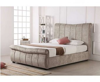 Bosworth Stone Fabric Sleigh Ottoman King Size Bed