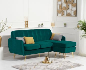 Brema Reversible 3 Seater Chaise Sofa in Green Velvet