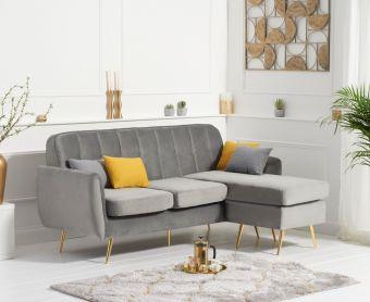Brema Reversible 3 Seater Chaise Sofa in Grey Velvet