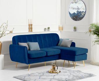 Brema Reversible 3 Seater Chaise Sofa in Blue Velvet