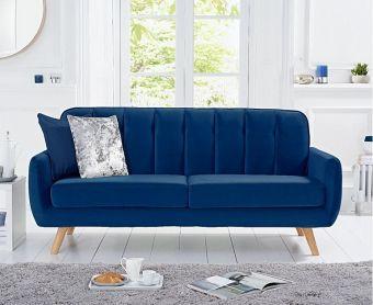 Coby Blue Velvet 3 Seater Sofa