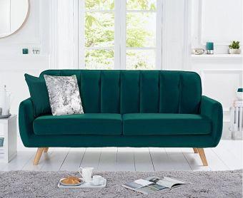 Coby Green Velvet 3 Seater Sofa
