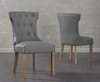 Cora Grey Faux Leather Dining Chairs