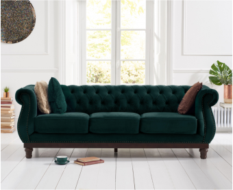 Henbury Chesterfield Green Plush Velvet 3 Seater Sofa