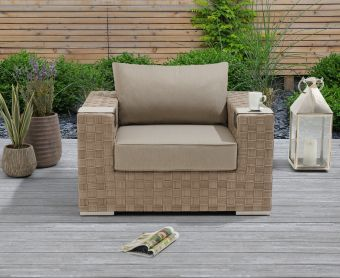 Callie Taupe and Brown Wicker Garden Chair