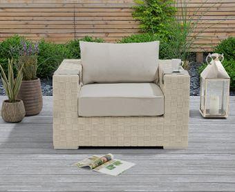 Callie Ivory and Cream Wicker Garden Chair
