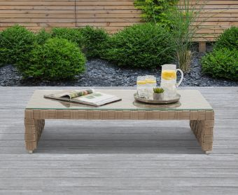 Callie Taupe and Brown Wicker Garden Coffee Table