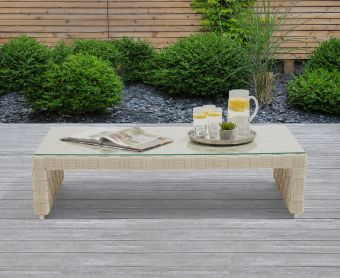 Callie Ivory and Cream Wicker Garden Coffee Table