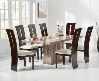 Carvelle 200cm Brown Pedestal Marble Dining Table with Verbier Chairs