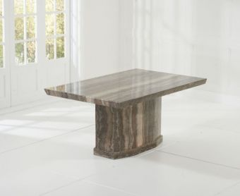 Carvelle 160cm Brown Pedestal Marble Dining Table