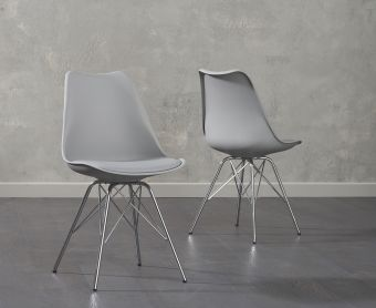 Calvin Light Grey Faux Leather Chair