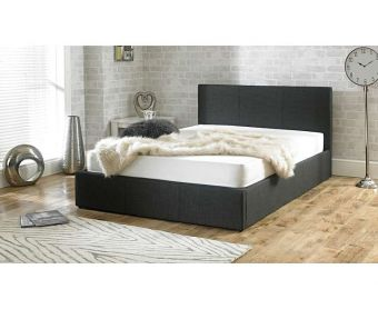 Sterling Charcoal Fabric Ottoman Double Bed