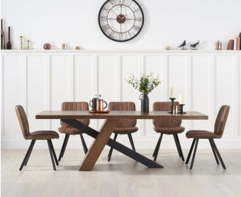 Chateau 180cm Black Leg Dining Table with Dali Faux Leather Dining Chairs