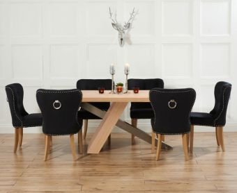 Chateau 180cm Oak and Metal Dining Table with Knightsbridge Fabric Chairs