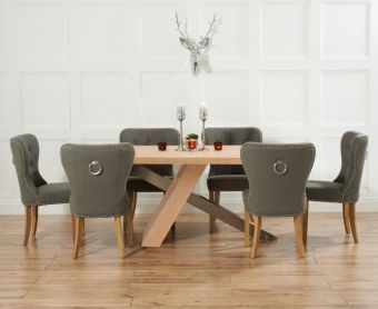 Chateau 180cm Oak and Metal Dining Table with Charcoal Grey Knightsbridge Fabric Chairs