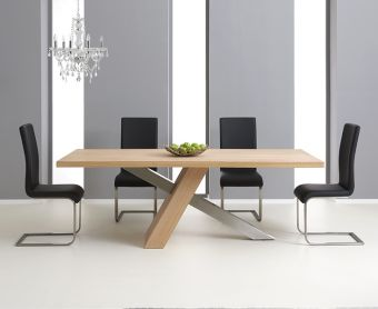 Chateau 180cm Oak and Metal Dining Table with Malaga Chairs