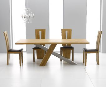 Chateau 180cm Oak and Metal Dining Table with Montreal Chairs