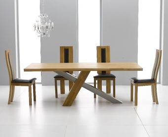 Chateau 180cm Oak and Metal Dining Table with Toronto Chairs