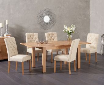 Cheadle 130cm Oak Extending Dining Table with Candice Fabric Chairs