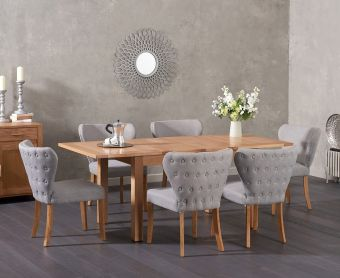 Cheadle 130cm Oak Extending Dining Table with Imogen Fabric Chairs