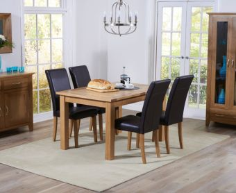 Cheadle 120cm Oak Extending Dining Table with Albany Chairs
