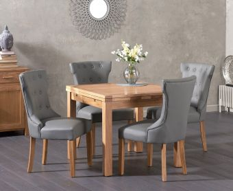 Cheadle 90cm Oak Extending Dining Table with Cora Faux Leather Chairs