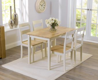 Chiltern 114cm Oak and Cream Dining Table and Chairs