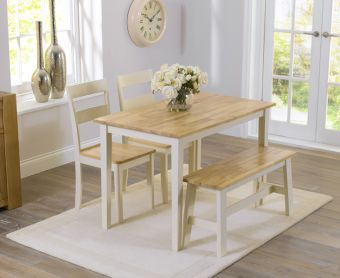 Chiltern 114cm Oak and Cream Dining Table with Bench and Chairs