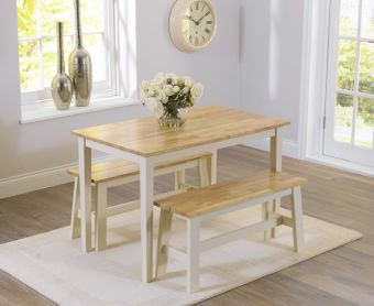 Chiltern 114cm Oak and Cream Dining Table and Benches