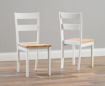 Chiltern Oak and White Dining Chairs (Pairs)