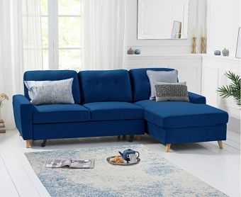 Christian Double Sofa Bed Right Facing Chaise In Blue Velvet
