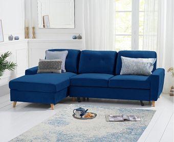 Christian Double Sofa Bed Left Facing Chaise In Blue Velvet
