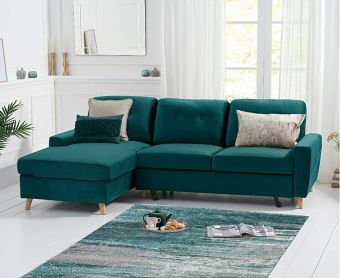 Christian Double Sofa Bed Left Facing Chaise In Green Velvet