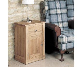 Mobel Solid Oak One Door One Drawer Side Table
