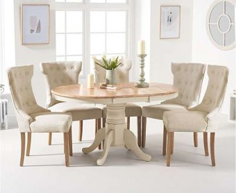 Epsom Oak and Cream Pedestal Extending Dining Table with Cora Cream Fabric Dining Chairs