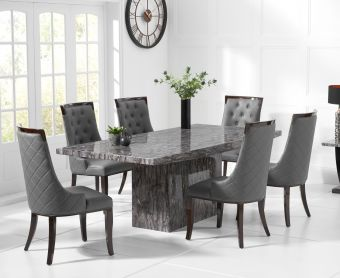 Crema 160cm Grey Marble Dining Table with Angelica Chairs