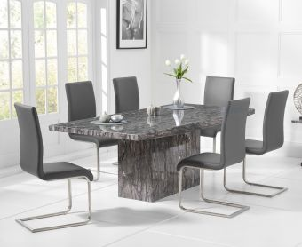 Crema 160cm Grey Marble Dining Table with Malaga Chairs