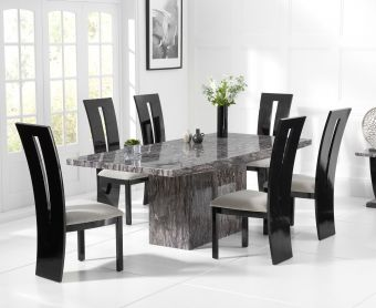 Crema 160cm Grey Marble Dining Table with Verbier Chairs