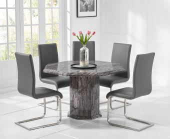 Crema Grey Octagonal Marble Dining Table with Malaga Chairs