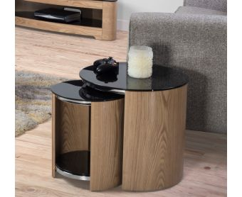 Curve Oak and Black Glass Nest of Tables
