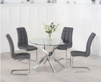 Denver 110cm Glass Dining Table with Lorin Chairs