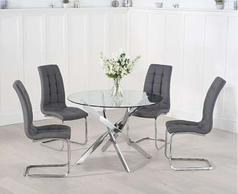 Denver 120cm Glass Dining Table with Lorin Chairs
