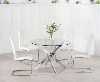 Denver 110cm Glass Dining Table with Tarin Chairs