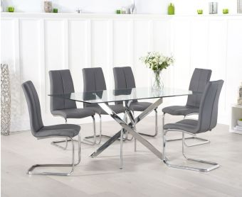 Denver 160cm Glass Dining Table with Tarin Chairs