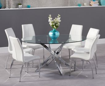 Denver 165cm Glass Dining Table with Cavello Chairs