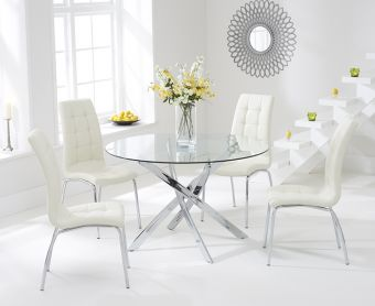 Denver 110cm Glass Dining Table with Cream Calgary Chairs